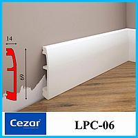 Дюрополимерный плинтус высотой 69 мм с двумя кабель каналами, LPC-06 Cezar, 2,0 м.