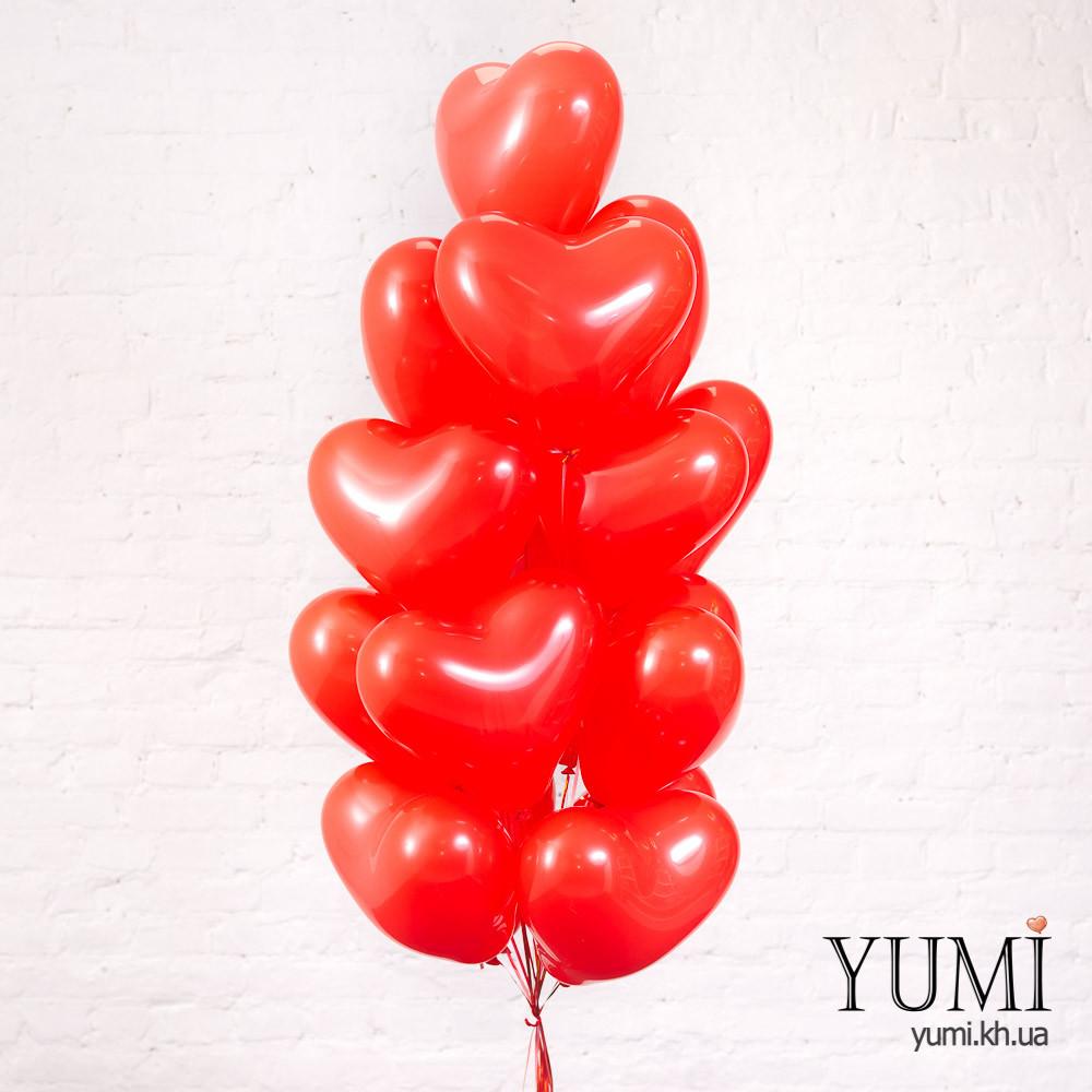 Красные шары сердечки с гелием на День святого Валентина