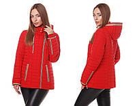 Женская демисезонная куртка косуха весна-осень 2018 красного цвета