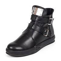 Женские демисезонные чёрные ботинки из натуральной кожи на плоской подошве с застёжкой молния