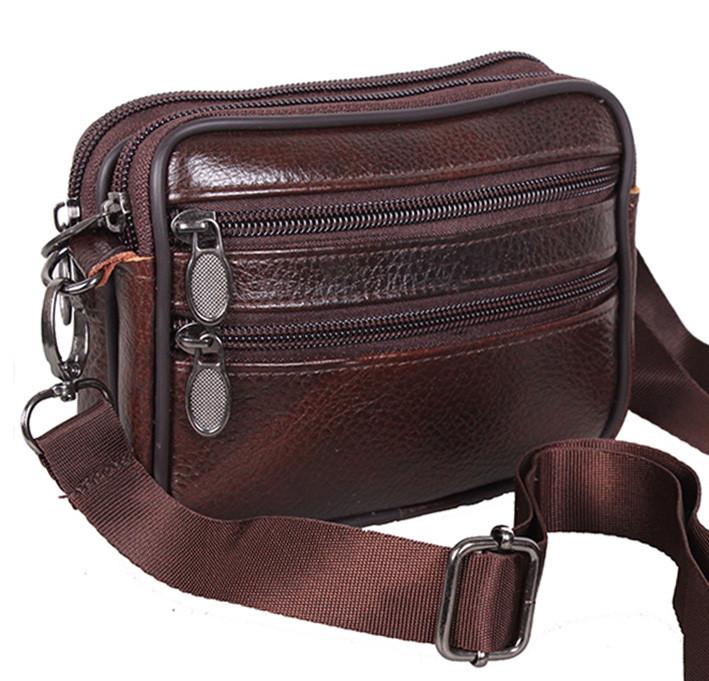 Кожаная мужская сумка Bon 9947 коричневая барсетка через плечо на пояс  натуральная кожа 12х16х5см 0ae54e0364a