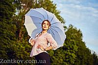 """Белый зонт-трость с рюшей по куполу от фирмы """"Swifts""""."""