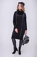 Женское вязаное платье прямого кроя с хомутом