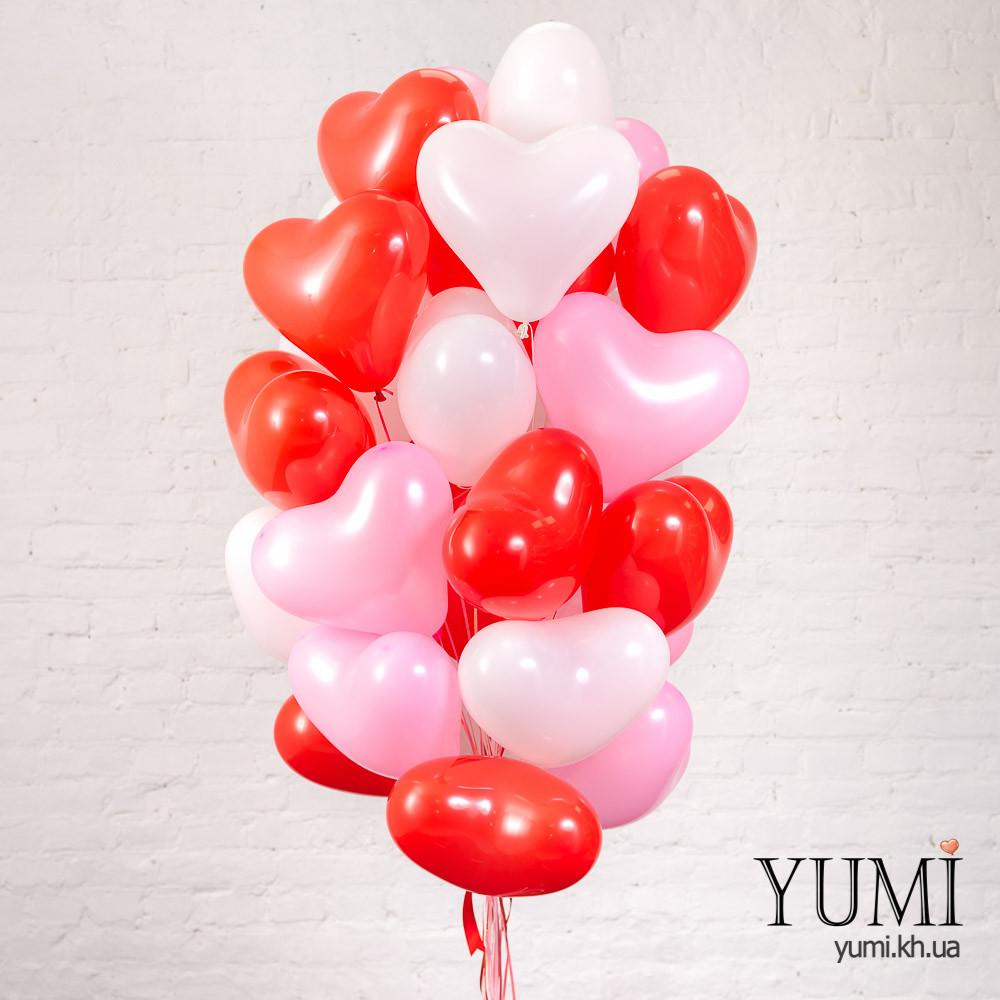 Связка для любимого человека из 30 шариков с гелием