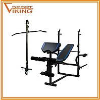 Универсальная скамейка для штанги 7FIT L710 + приставка Скотта + вертикальная тяга  (Акция)