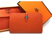 Женский кошелек Hermes (H-536) orange SR-771