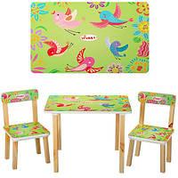 Детский деревянный столик со стульчиками 501-6 Птички (салатовый)