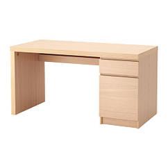 Письменный стол, дубовый шпон, беленый, 140x65 см IKEA MALM 203.598.23