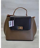 Молодежная женская сумка-клатч коричневый