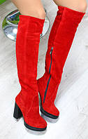 Зимние натуральные замшевые красные сапоги-ботфорты на удобном каблуке, фото 1