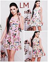 Размер 42,44,46,48,50 Женское летнее платье Криста розовое с цветами батал короткое повседневное нарядное мини