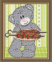 """Алмазна мозаїка """"Ведмедик з шашликом"""""""