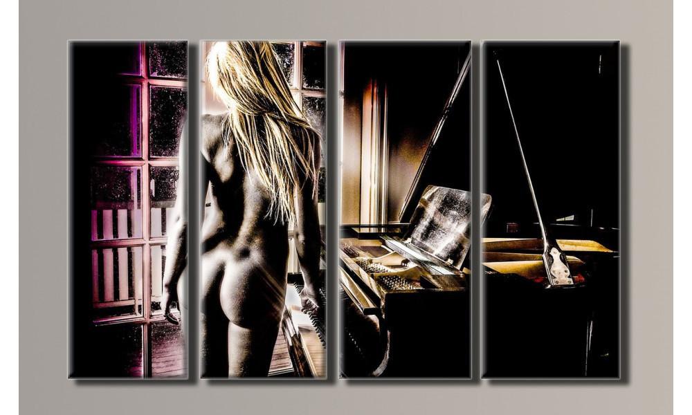 "Модульная картина на холсте ""Девушка у рояля"""