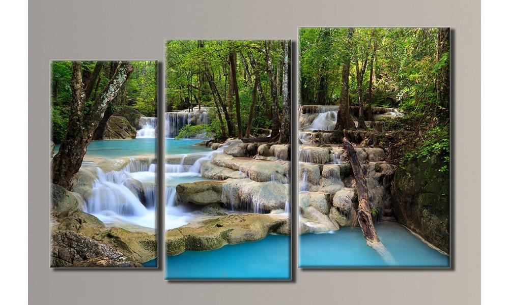 """Модульная картина на холсте """"Ступенчатый водопад"""""""