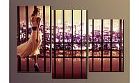 """Модульная картина на холсте """"Девушка в длинном платье"""" для интерьера"""