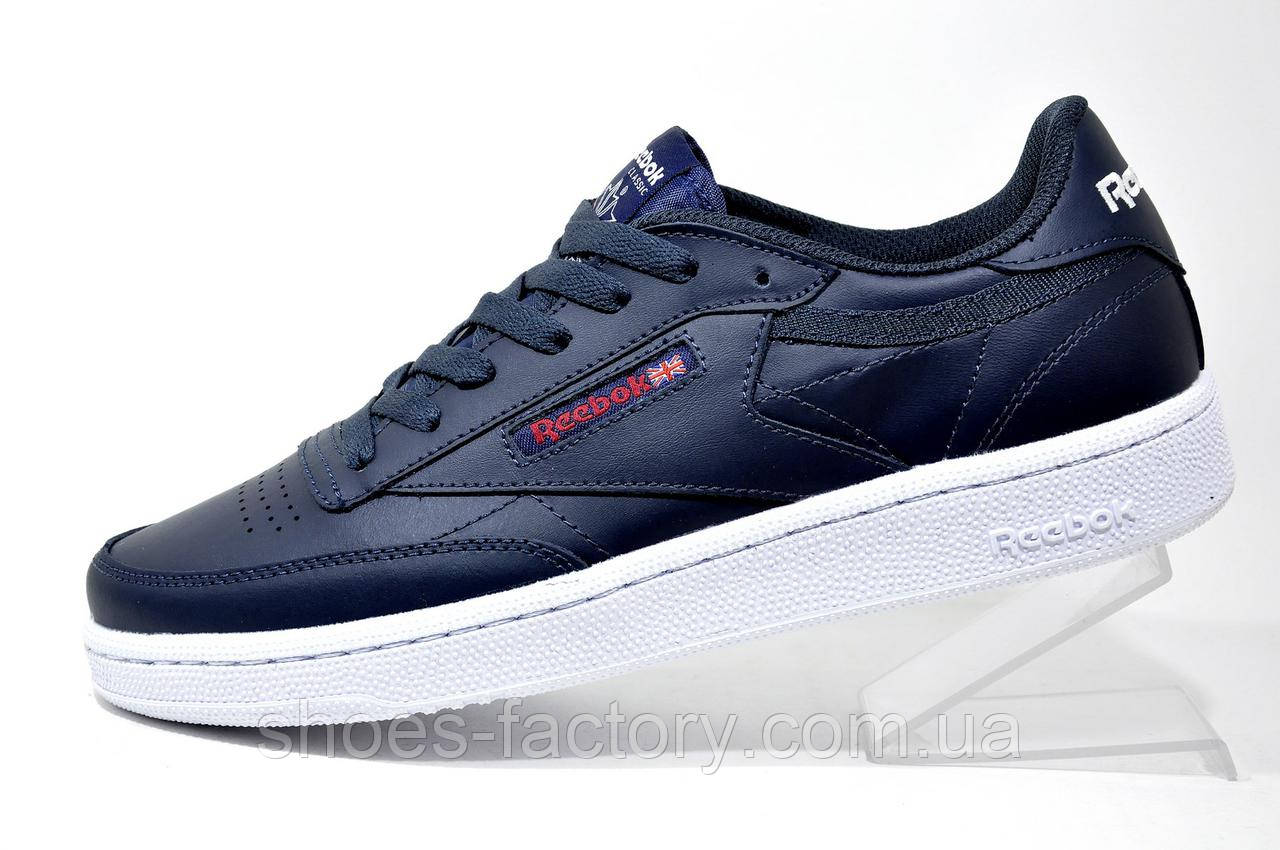 Кожаные мужские кроссовки в стиле Reebok Club C 85 Leather, AR0458 Dark Blue\White