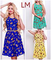 Размер 44,46,48,50 Женское летнее платье Инга желтое с принтом из креп-шифона батал нарядное повседневное мини