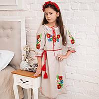 Вишите плаття Маки (2-11років, габардин-льон)