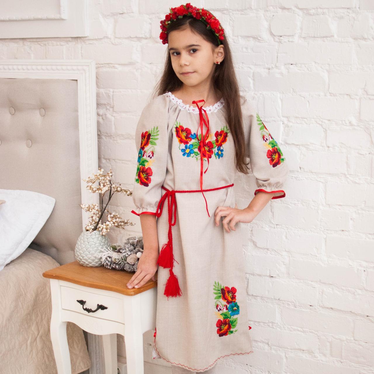 """Вишите плаття Маки (2-11років, габардин-льон) - Студія дитячої вишивки """"СОКОЛЯТА"""" в Львове"""
