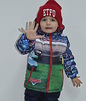 """Демисезонная куртка для мальчика с принтом """"Тачки 2"""", р 110,116"""