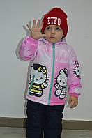 """Демисезонная куртка для девочки с принтом """"Хелло Китти"""", р 104"""