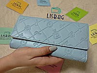 Женский кошелек крутой принт рифленый на ощупь, голубой