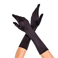 Перчатки чёрные атласные длинные