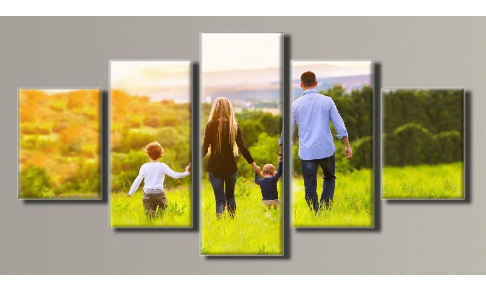 """Модульная картина на холсте """"Счастливая семья"""""""