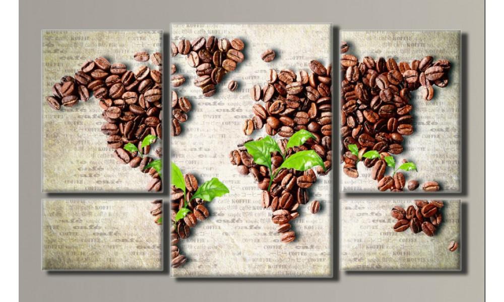 """Модульная картина на холсте """"Карта кофе 2"""""""