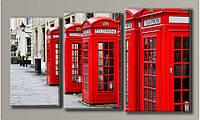 """Модульная картина на холсте """"Телефонная будка"""" для интерьера"""