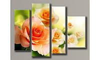 """Модульная картина на холсте """"Розовые розы"""" для интерьера"""