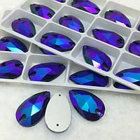 Стразы пришивные Капля 11х18 мм Sapphire AB (синий), стекло