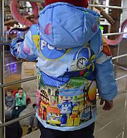 """Демисезонная куртка для мальчика с принтом """"Робокар Поли"""", р 110,116"""