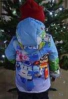"""Демисезонная куртка для мальчика с принтом """"Robocar Poli 2 """", р 110,116"""