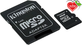 Карта памяти Kingston Micro SDHC 8Gb class 4 +SD USB