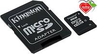 Карта памяти Kingston Micro SDHC 8Gb class 4 +SD USB карта памяти