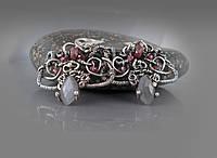 Срібні сережки ручної роботи Мереживо. Натуральні камені