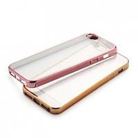 Прозрачный силиконовый чехол для Apple iPhone 5/5S/SE с глянцевой окантовкой Розовый