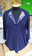 Блуза нарядная синего цвета с пайетками