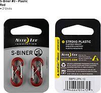 Набор карабинов пластиковых Nite Ize S-Biner Plastic Size 0 красный, 2 шт