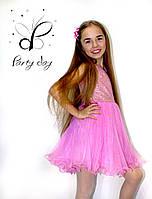"""Коктейльное платье для девочек """"Ева"""". В розовом цвете."""