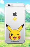 """Прозрачный силиконовый чехол """"Pokemon Go"""" для Apple iPhone 5/5S/SE Pikachu / face, фото 1"""