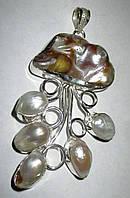 """Жемчужный серебряный кулон  """"Океанический"""" с  натуральным жемчугом, фото 1"""