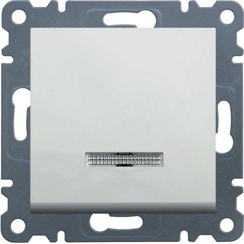 Выключатель 1-кл. универсальный с подсветкой Hager Lumina Белый