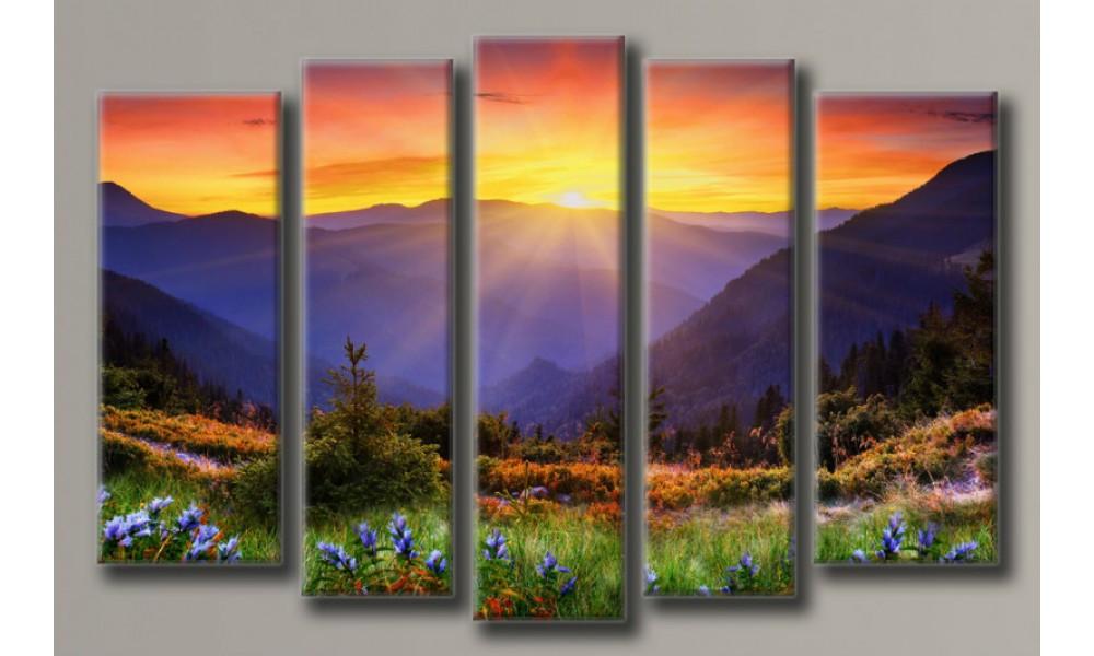"""Модульная картина на холсте """"Горный пейзаж 2"""" для интерьера"""