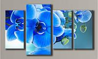"""Модульная картина на холсте """"Синие орхидеи"""" для интерьера"""