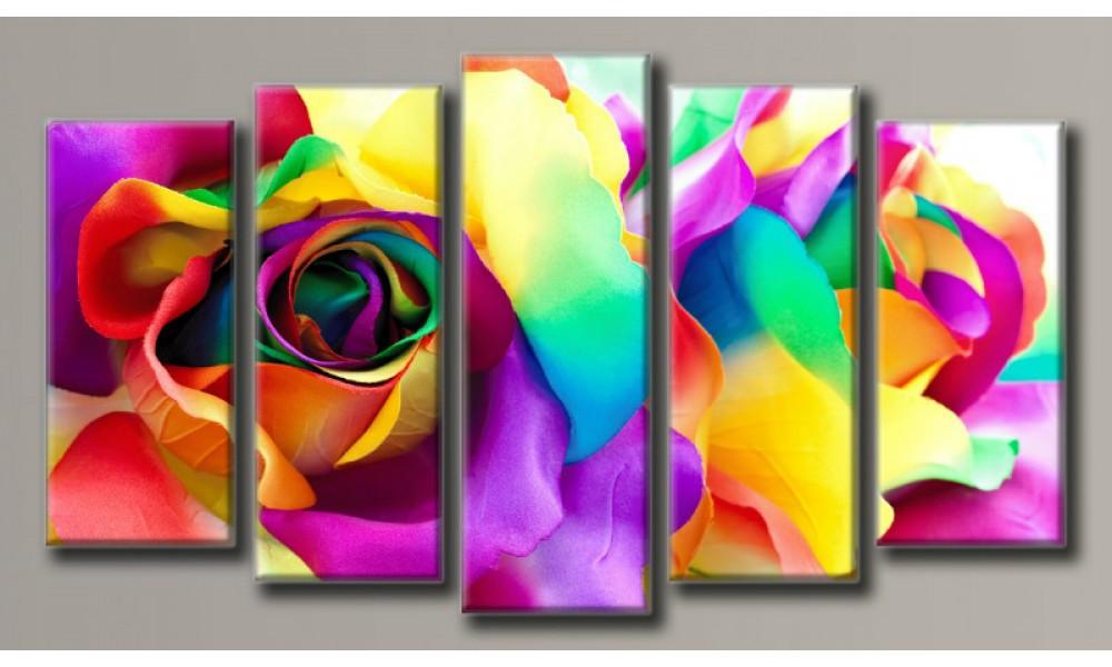 """Модульная картина на холсте """"Букет роз"""" для интерьера"""