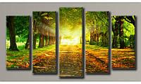 """Модульная картина на холсте """"Осенний пейзаж"""" для интерьера"""