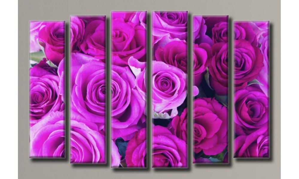 """Модульная картина на холсте """"Букет бордовых роз"""" для интерьера"""