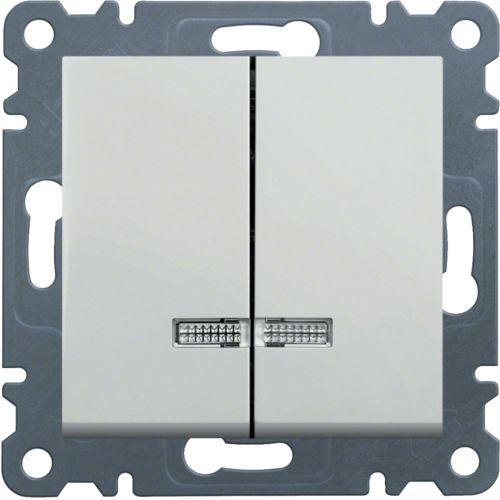 Вимикач 2-клавішний з підсвічуванням Hager Lumina Білий